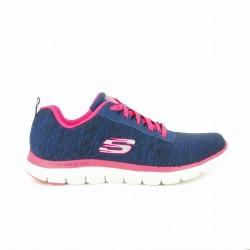 zapatillas deportivas SKECHERS azules y rosas suela flexible