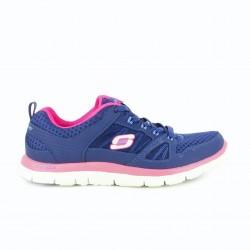 zapatillas deportivas SKECHERS memory foam azules y lilas