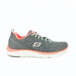 zapatillas deportivas SKECHERS memory foam grises y rosas fluor