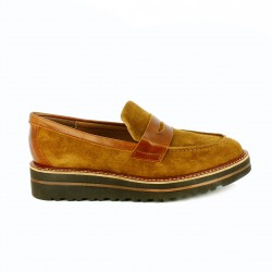 zapatos planos REDLOVE mocasines marrones de piel