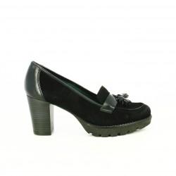zapatos tacón PATRICIA MILLER mocasines de piel negros