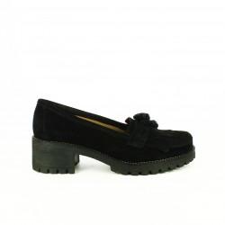 zapatos tacón REDLOVE mocasines negros de piel con borlas