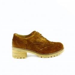 zapatos tacón REDLOVE oxford marrones de piel con brogue