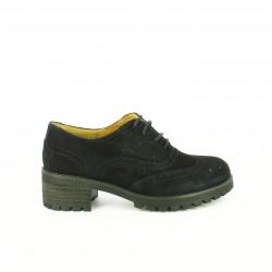 zapatos tacón REDLOVE oxford negros de piel con brogue