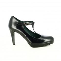 zapatos tacón PATRICIA MILLER negras de piel abiertas