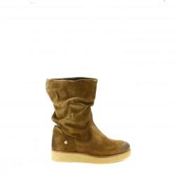 botas planas IS TO ME marrones de piel caña baja - Querol online