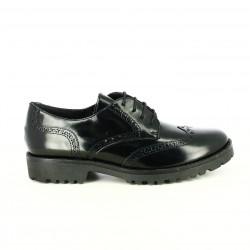 zapatos tacón SUITE009 oxford negros piel con brogue - Querol online