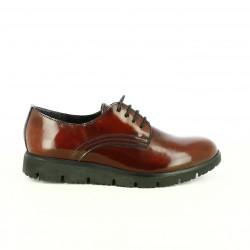 zapatos planos SUITE009 bluchers burdeos de piel - Querol online