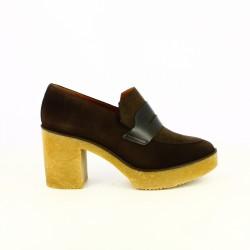 zapatos tacón HOBBY SPORT mocasines marrones piel - Querol online