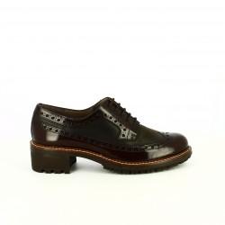 zapatos tacón WONDERS bluchers de piel marrones