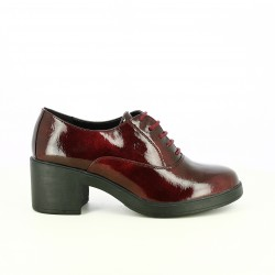 zapatos tacón FRANCESCO MILANO oxford de charol burdeos