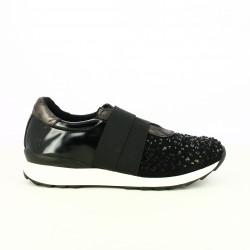 zapatillas deportivas FRANCESCO MILANO negras con gomas y brillantes