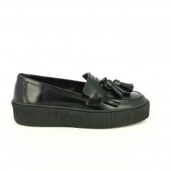 zapatos planos REDLOVE mocasines negros de piel con plataforma - Querol online