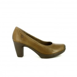 zapatos tacón YOKONO marrones de piel con tacón de goma