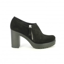 zapatos tacón HOBBY SPORT negros de piel cerrados con cremallera