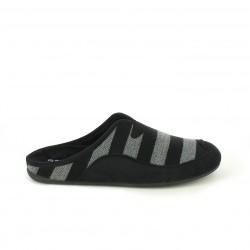zapatillas casa GARZON con rayas grises y negras
