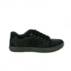 zapatos sport LUMBERJACK negros con rayas y cordones - Querol online