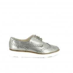 zapatos planos SUITE009 bluchers plateados de piel - Querol online