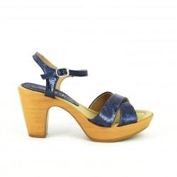 sandalias tacón SUITE009 azules metalizadas - Querol online