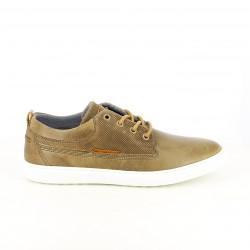 zapatos sport LOBO marrones de piel con suela blanca - Querol online