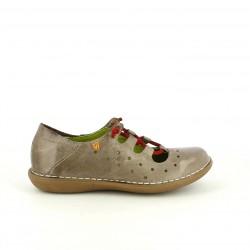 zapatos planos JUNGLA marrones de piel con cordones rojos - Querol online