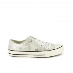 zapatillas lona CHIKA10 plateadas y blancas con cordones - Querol online