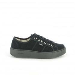 zapatillas lona VICTORIA negras de plataforma - Querol online