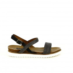 sandalias planas XTI negras con redondas plateadas - Querol online
