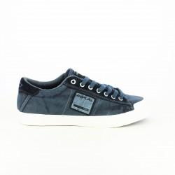 zapatillas lona REPLAY azules con cordones - Querol online