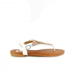 sandalias planas DEITY esclavas blancas con estampado boho - Querol online