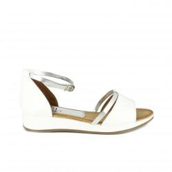 sandalias planas MARILA blancas y plateadas - Querol online