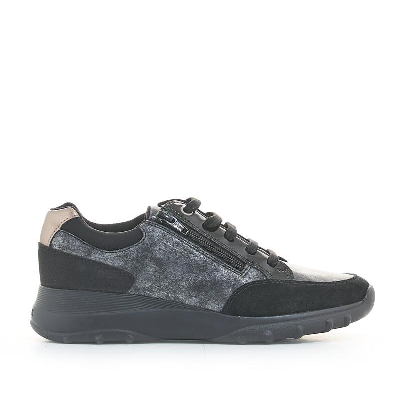 morfina Lago taupo Embajada  Zapatillas deportivas negras y grises metalizadas con cordones y cremallera  lateral Geox   Querol online