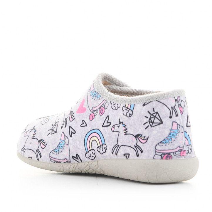 Zapatillas casa Vul·ladi grises estampadas y cerradas con velcro - Querol online