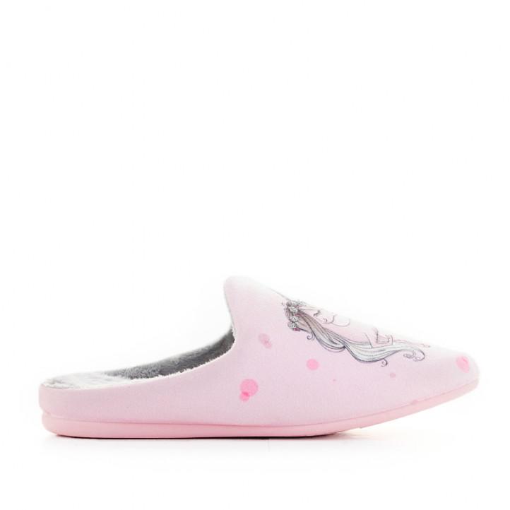 Zapatillas casa Garzon rosas con dibujo de unicornio - Querol online