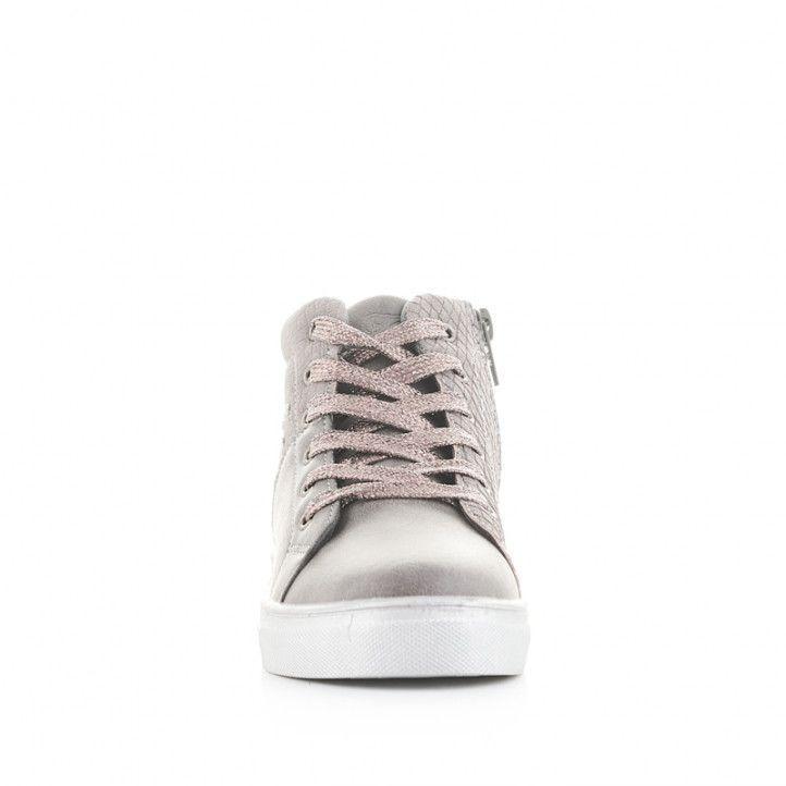 Botines CRECENDO grises con detalles en rosa y cordones - Querol online
