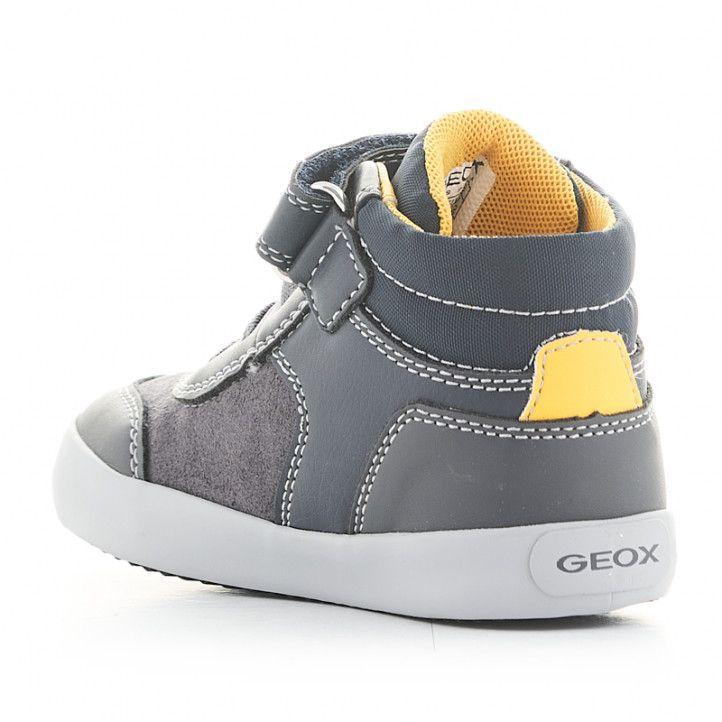 Botins Geox grisos amb detalls grocs, cordons elàstics i velcro - Querol online
