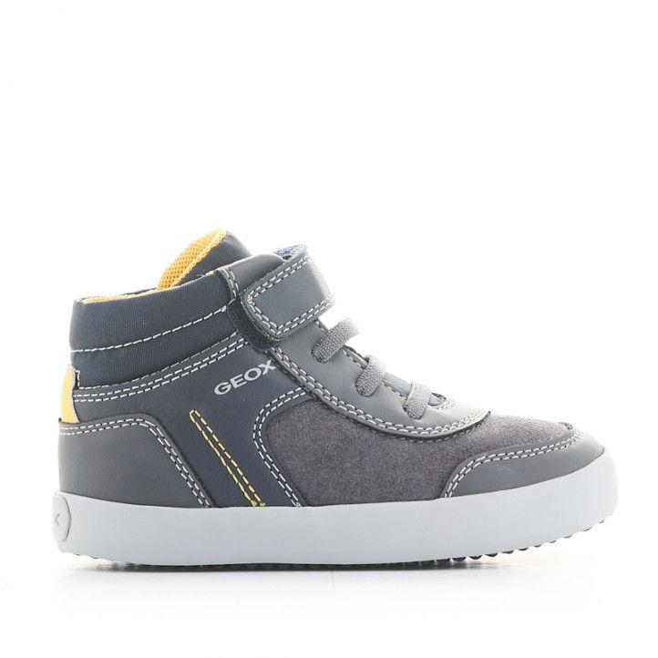 Botines Geox grises con detalles amarillos, cordones elásticos y velcro - Querol online