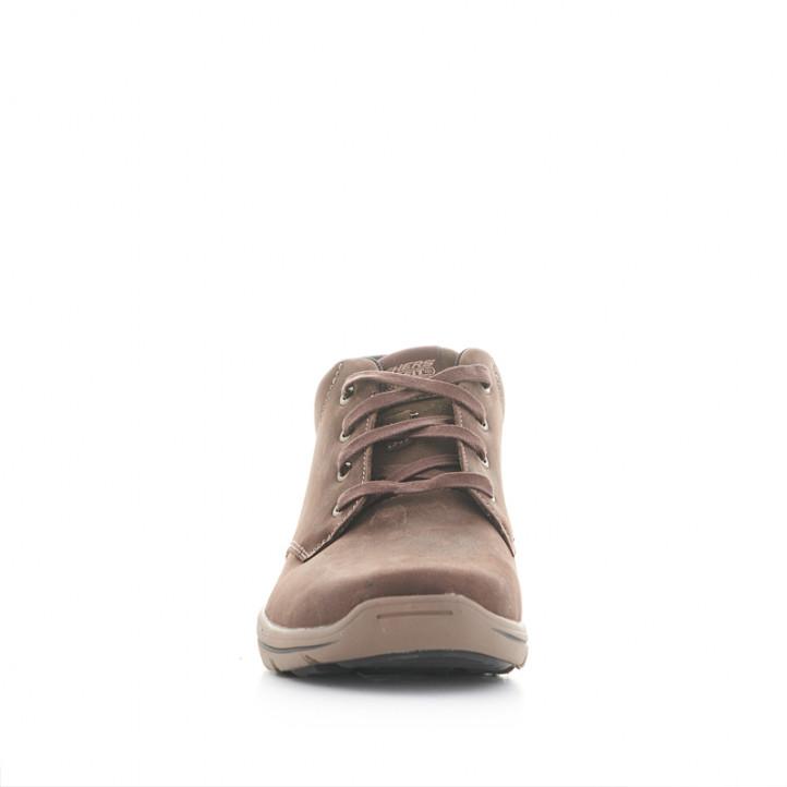 Botines Skechers marrones de piel y con cordones - Querol online
