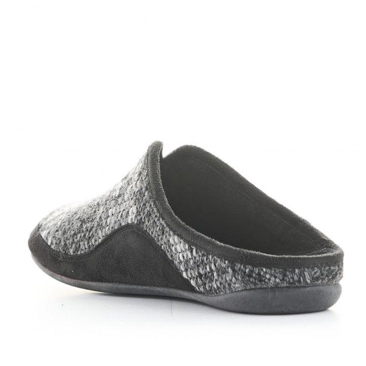 Zapatillas casa Garzon negras, blancas y grises - Querol online