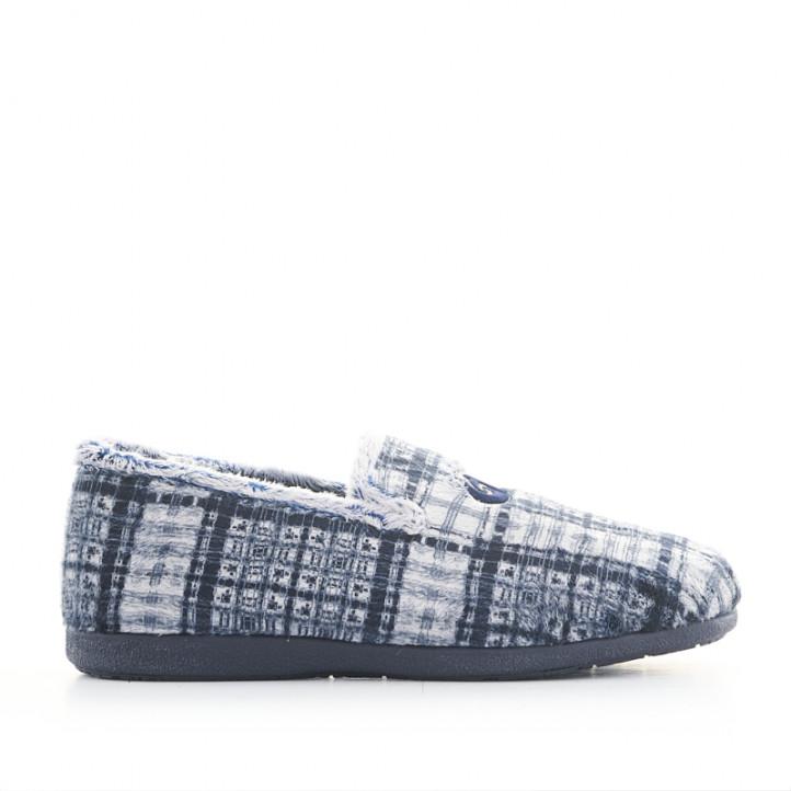 Zapatillas casa Garzon cerradas azules y grises de cuadros - Querol online