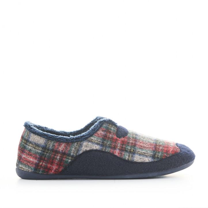 Zapatillas casa Garzon de cuadros cerradas - Querol online