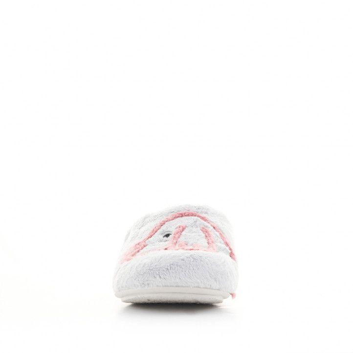 Zapatillas casa Vul·ladi grises y rosas con mensaje y dibujo - Querol online