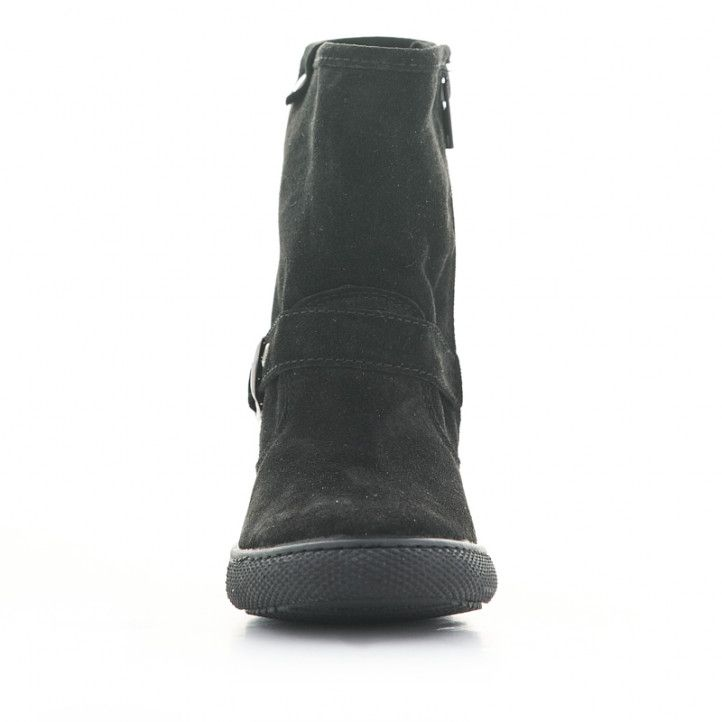 Botines Vul·ladi negros de piel con tira y hebilla en el tobillo - Querol online
