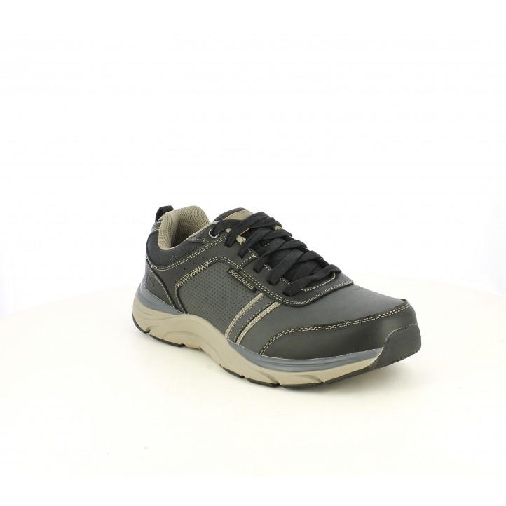 Zapatos sport Skechers negras de cordones combianado con detalles grises - Querol online