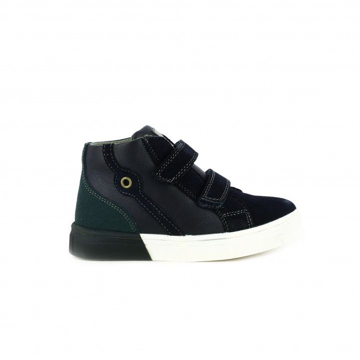 Zapatillas lona ASSO de bota azules, grises y verdes - Querol online