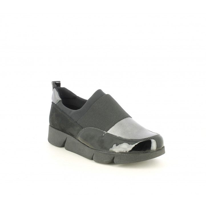Zapatos planos The Flexx negros de piel con detalles en charol y metalizado - Querol online