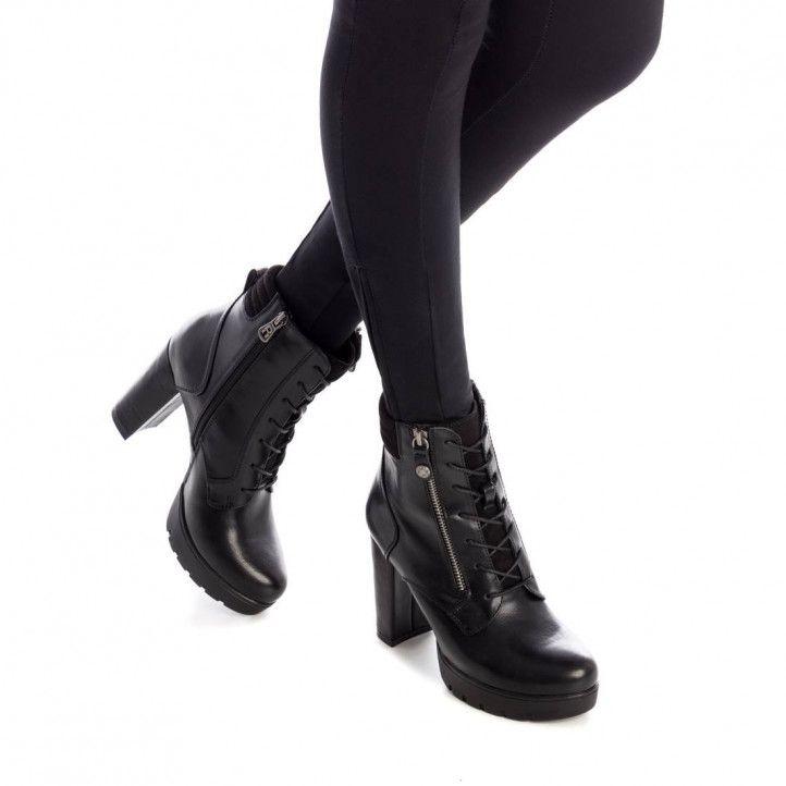 Botines tacón Refresh negros con cremallera lateral y cordones - Querol online