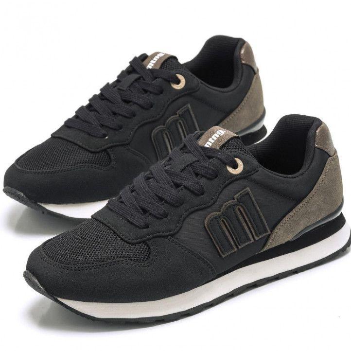 Zapatillas deportivas Mustang en color negra y en combinación en tonos grises - Querol online