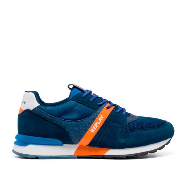 Zapatillas deportivas Replay azules con detalles naranjas - Querol online