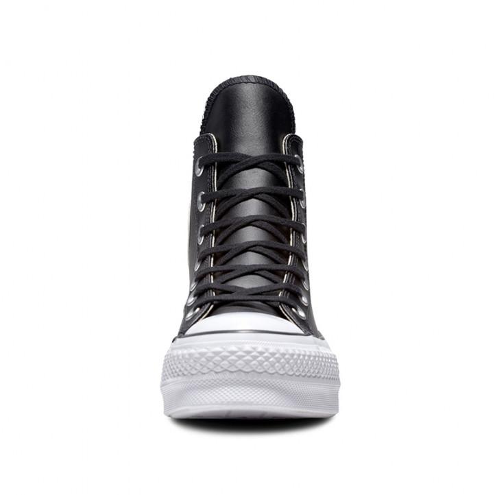 Botines plataforma Converse negros de piel chuck taylor all star lift high top - Querol online
